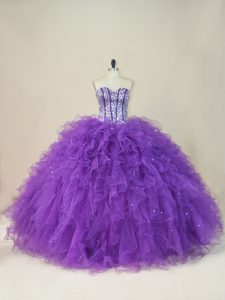 Purple Ball Gowns Sweetheart Sleeveless Tulle Floor Length Lace Up Beading and Ruffles Sweet 16 Quinceanera Dress