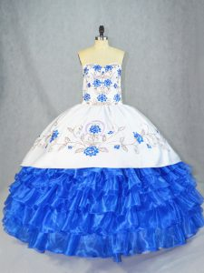 Hot Sale Blue And White Sweetheart Neckline Embroidery and Ruffled Layers Quinceanera Gowns Sleeveless Lace Up