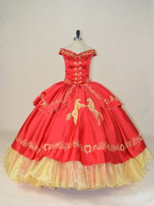 Admirable Red Quinceanera Dresses Sweet 16 and Quinceanera with Embroidery Off The Shoulder Sleeveless Lace Up