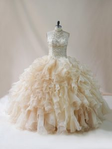 Floor Length Lace Up Vestidos de Quinceanera Champagne for Sweet 16 and Quinceanera with Beading and Ruffles