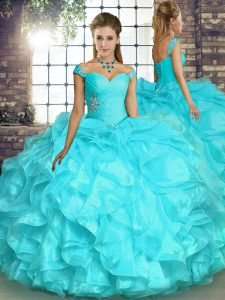 Excellent Aqua Blue Off The Shoulder Neckline Beading and Ruffles Quinceanera Gowns Sleeveless Lace Up