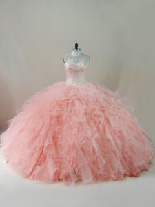 Classical Floor Length Ball Gowns Sleeveless Peach Quinceanera Dress Lace Up