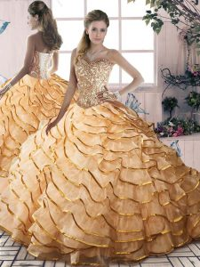 Elegant Brush Train Ball Gowns Sweet 16 Quinceanera Dress Gold Sweetheart Organza Sleeveless Lace Up