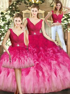 Multi-color Tulle Lace Up V-neck Sleeveless Floor Length Vestidos de Quinceanera Beading and Ruffles