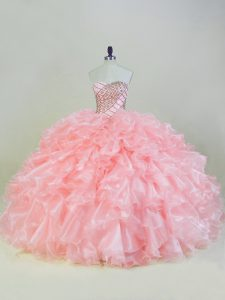 Lace Up Quinceanera Dress Peach for Sweet 16 and Quinceanera with Beading and Ruffles