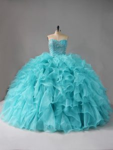 Lace Up Quinceanera Gown Aqua Blue for Sweet 16 and Quinceanera with Beading and Ruffles