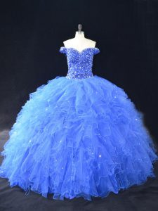 Shining Blue Tulle Lace Up 15th Birthday Dress Sleeveless Floor Length Beading and Ruffles