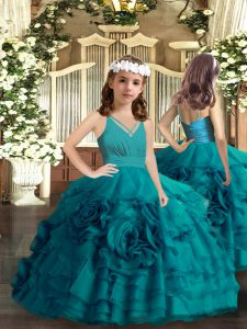 Teal Ball Gowns Ruffled Layers and Hand Made Flower Child Pageant Dress Zipper Organza Sleeveless Floor Length