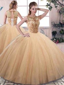 Sumptuous Tulle Sleeveless Floor Length Sweet 16 Dress and Beading