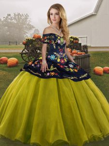 Designer Olive Green Off The Shoulder Lace Up Embroidery Sweet 16 Dresses Sleeveless