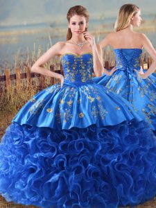 Royal Blue Sleeveless Fabric With Rolling Flowers Brush Train Lace Up 15 Quinceanera Dress for Sweet 16 and Quinceanera