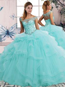 New Arrival Floor Length Aqua Blue Quinceanera Gowns Tulle Sleeveless Beading and Ruffles