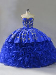 Sleeveless Floor Length Embroidery and Ruffles Lace Up Ball Gown Prom Dress with Royal Blue