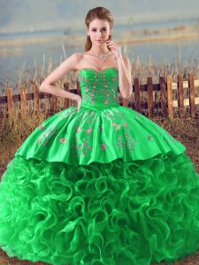 Green Fabric With Rolling Flowers Lace Up Ball Gown Prom Dress Sleeveless Embroidery and Ruffles