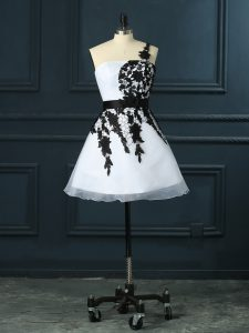 Wonderful White Sleeveless Organza Lace Up Dress for Prom for Prom and Party and Military Ball