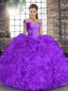 Lavender Lace Up Off The Shoulder Beading and Ruffles Sweet 16 Quinceanera Dress Organza Sleeveless