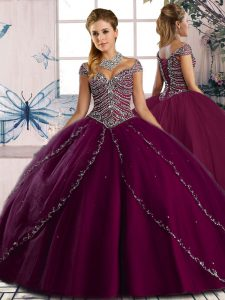 Pretty Ball Gowns Cap Sleeves Purple Sweet 16 Dress Brush Train Lace Up