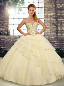 Sleeveless Tulle Brush Train Lace Up 15th Birthday Dress in Light Yellow with Beading and Ruffled Layers