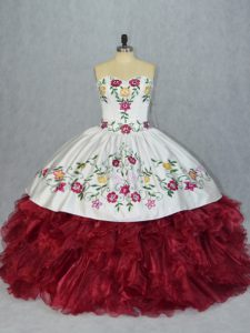 Beauteous White And Red Sweetheart Neckline Embroidery and Ruffles Quinceanera Dress Sleeveless Lace Up