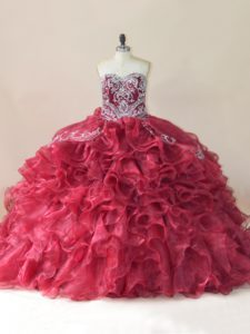 Flirting Wine Red Lace Up Sweet 16 Dresses Beading and Appliques and Ruffles Sleeveless Brush Train