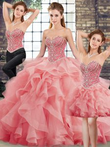 Smart Sleeveless Tulle Brush Train Lace Up Sweet 16 Quinceanera Dress in Watermelon Red with Beading and Ruffles