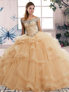 Wonderful Sleeveless Lace Up Floor Length Beading and Ruffles Quinceanera Dresses