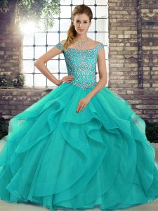 Clearance Tulle Off The Shoulder Sleeveless Brush Train Lace Up Beading and Ruffles 15 Quinceanera Dress in Aqua Blue