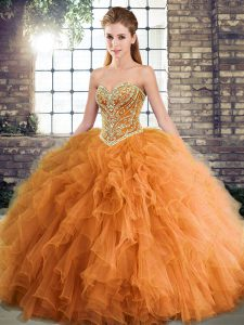Hot Sale Orange Tulle Lace Up Sweetheart Sleeveless Floor Length Quinceanera Dress Beading and Ruffles