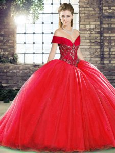 High End Red Off The Shoulder Lace Up Beading Sweet 16 Dresses Brush Train Sleeveless