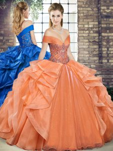 Ideal Orange Quinceanera Dresses Military Ball and Sweet 16 and Quinceanera with Beading and Ruffles Off The Shoulder Sleeveless Lace Up
