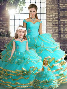 Aqua Blue Sleeveless Floor Length Beading and Ruffled Layers Lace Up Quinceanera Gowns
