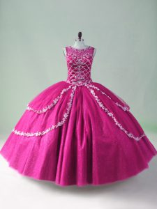 Sexy Fuchsia 15th Birthday Dress Sweet 16 and Quinceanera with Beading and Appliques Scoop Sleeveless Zipper