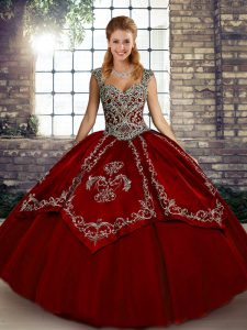 Suitable Sleeveless Tulle Floor Length Lace Up Ball Gown Prom Dress in Wine Red with Beading and Embroidery