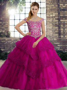 Fuchsia Off The Shoulder Lace Up Beading and Lace Quince Ball Gowns Brush Train Sleeveless