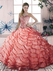 Enchanting Sleeveless Organza Brush Train Lace Up Sweet 16 Quinceanera Dress in Watermelon Red with Beading and Ruffled Layers