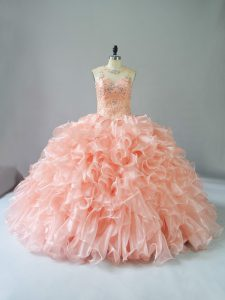 Amazing Peach Scoop Lace Up Beading and Ruffles Quinceanera Dress Sleeveless