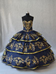 Dramatic Floor Length Lace Up Sweet 16 Quinceanera Dress Navy Blue for Sweet 16 and Quinceanera with Embroidery and Ruffled Layers