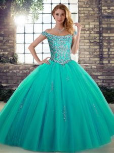 New Arrival Turquoise Tulle Lace Up Off The Shoulder Sleeveless Floor Length Sweet 16 Quinceanera Dress Beading
