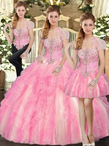 Strapless Sleeveless Tulle Quinceanera Gowns Beading and Ruffles Lace Up
