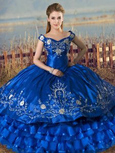 Royal Blue Lace Up 15 Quinceanera Dress Embroidery and Ruffled Layers Sleeveless Floor Length