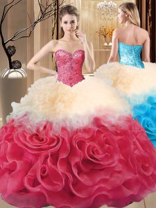 Superior Sleeveless Fabric With Rolling Flowers Floor Length Lace Up Ball Gown Prom Dress in Red with Beading and Ruffles