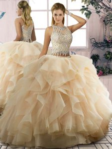 Dazzling Tulle Scoop Sleeveless Lace Up Ruffles Sweet 16 Dress in Champagne