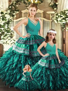 Beauteous Floor Length Backless Quinceanera Dress Turquoise for Sweet 16 and Quinceanera with Appliques and Ruffles