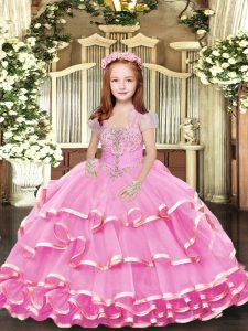 Floor Length Lilac Girls Pageant Dresses Straps Sleeveless Lace Up