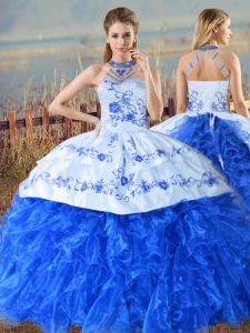 Pretty Royal Blue Ball Gowns Halter Top Sleeveless Organza Court Train Lace Up Embroidery and Ruffles Quinceanera Dresses