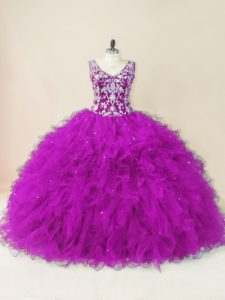 Fuchsia V-neck Backless Beading Sweet 16 Dress Sleeveless