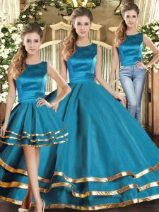 Scoop Sleeveless Lace Up Quinceanera Dress Teal Tulle