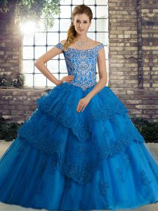 New Arrival Off The Shoulder Sleeveless Tulle Quinceanera Dresses Beading and Lace Brush Train Lace Up
