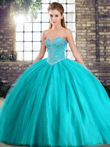 Ball Gowns Sleeveless Aqua Blue Quinceanera Gowns Brush Train Lace Up