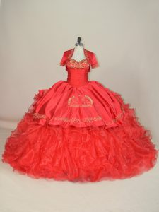 Adorable Red Quinceanera Dresses Sweet 16 and Quinceanera with Embroidery and Ruffles Sweetheart Sleeveless Brush Train Lace Up